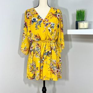 Maurices Yellow Floral V Neck Shorts Romper